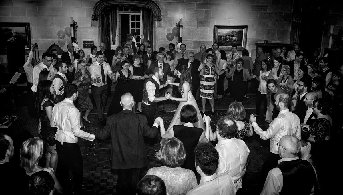 Bride and groom dancing at Northcote House wedding reception