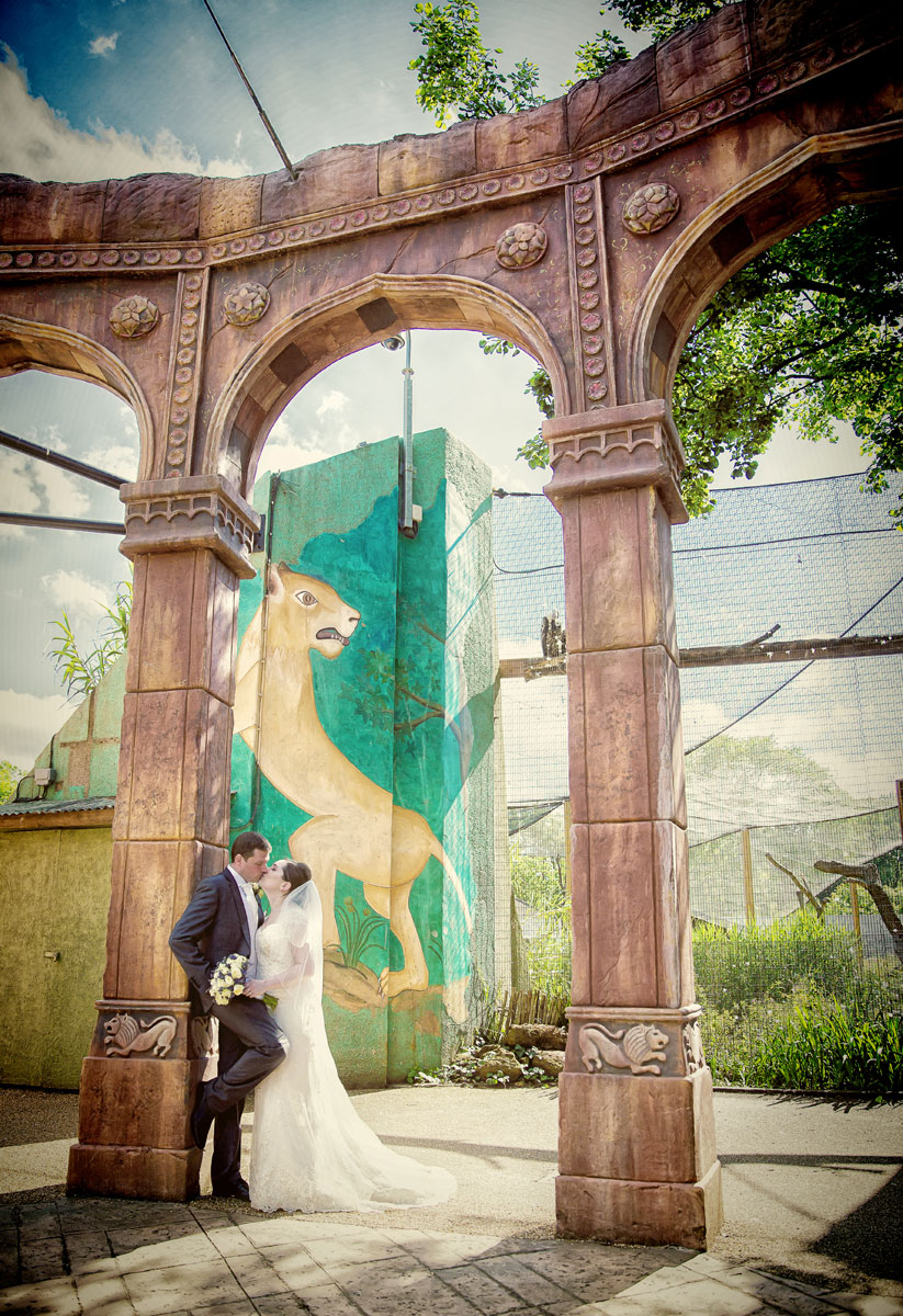 Couple kiss under arches at their London Zoo wedding