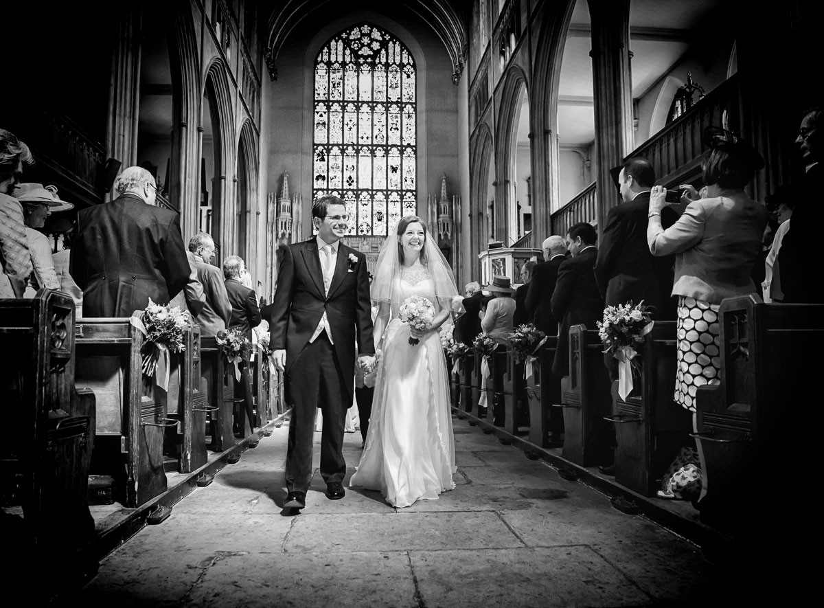 Bride and groom recessional at St Lukes Chelsea wedding