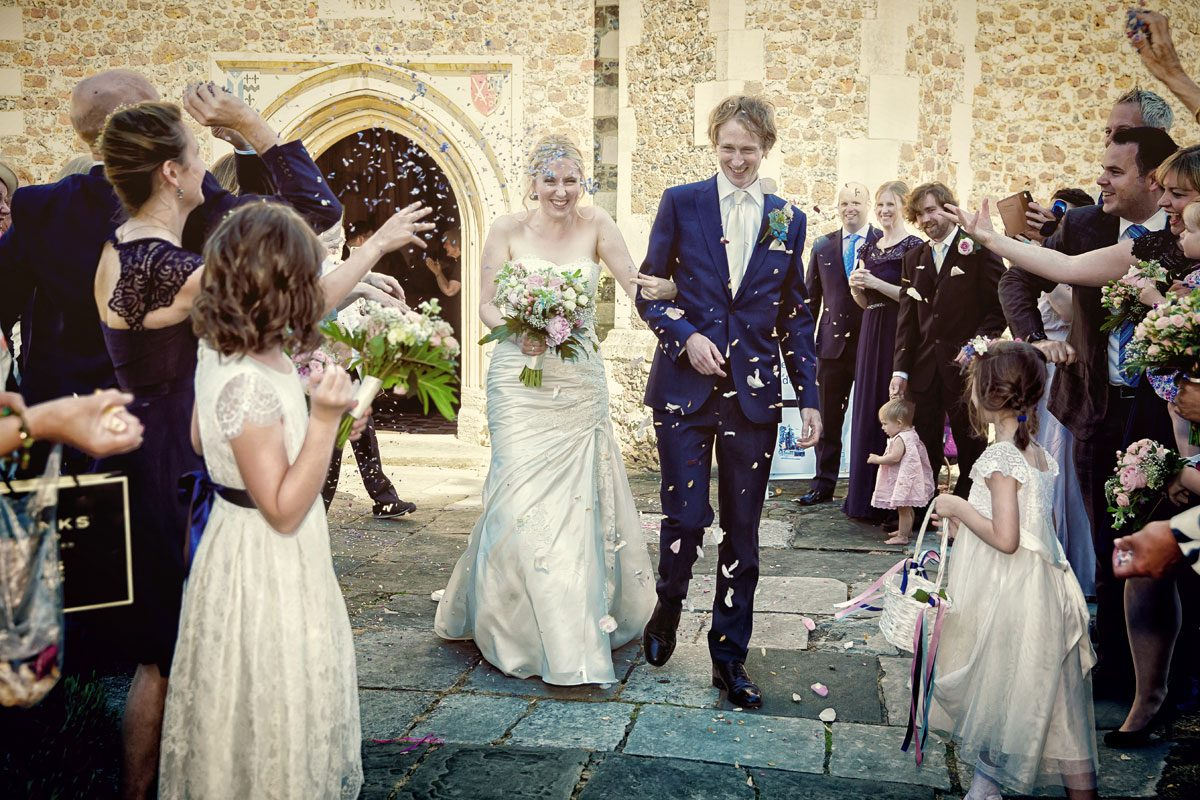 Confetti throw at St Mary church Barnet wedding