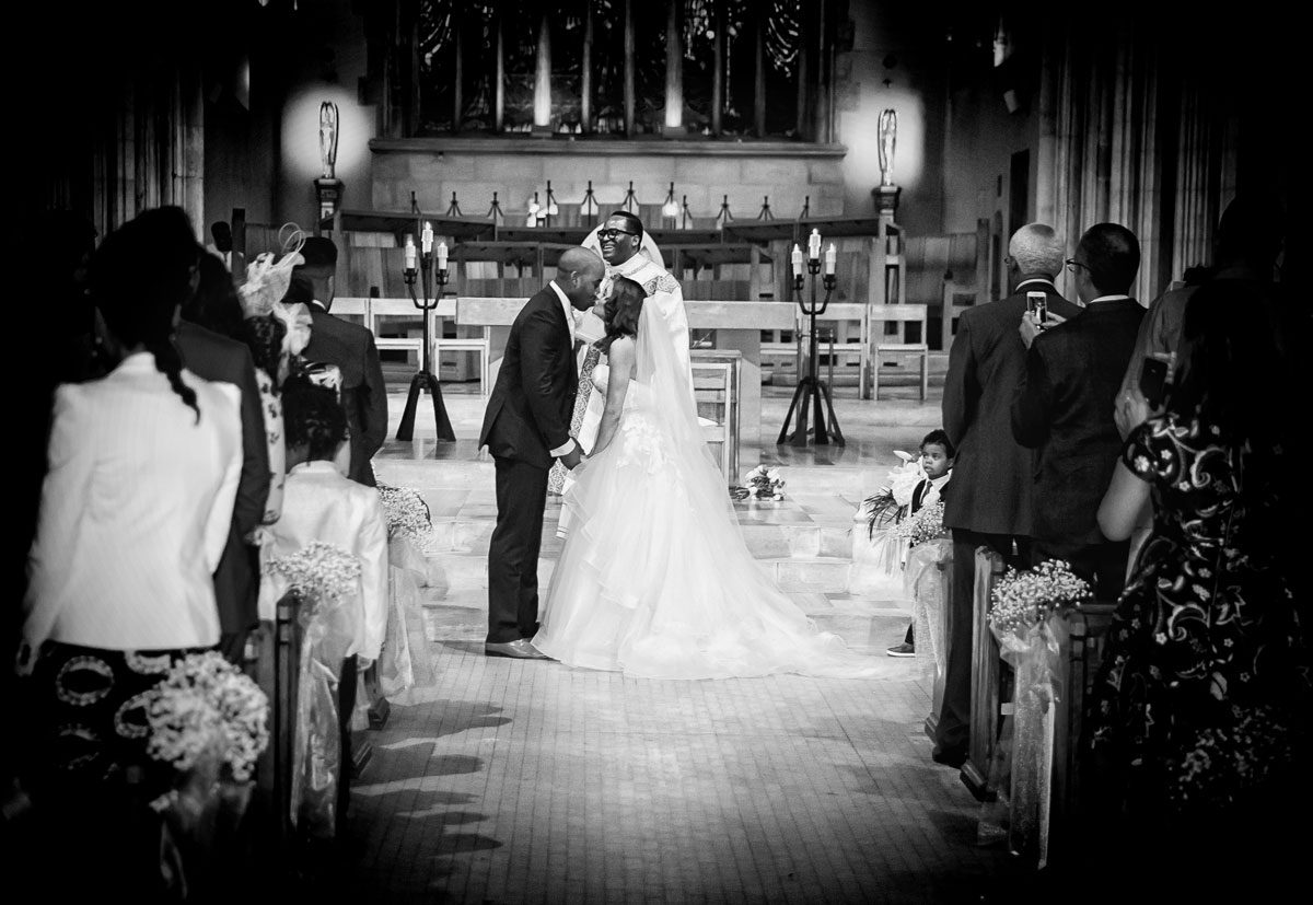 First kiss St George's Cathedral wedding London