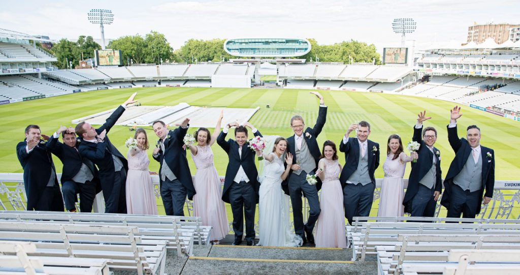 Fun group shot at Lords Cricket Ground Wedding