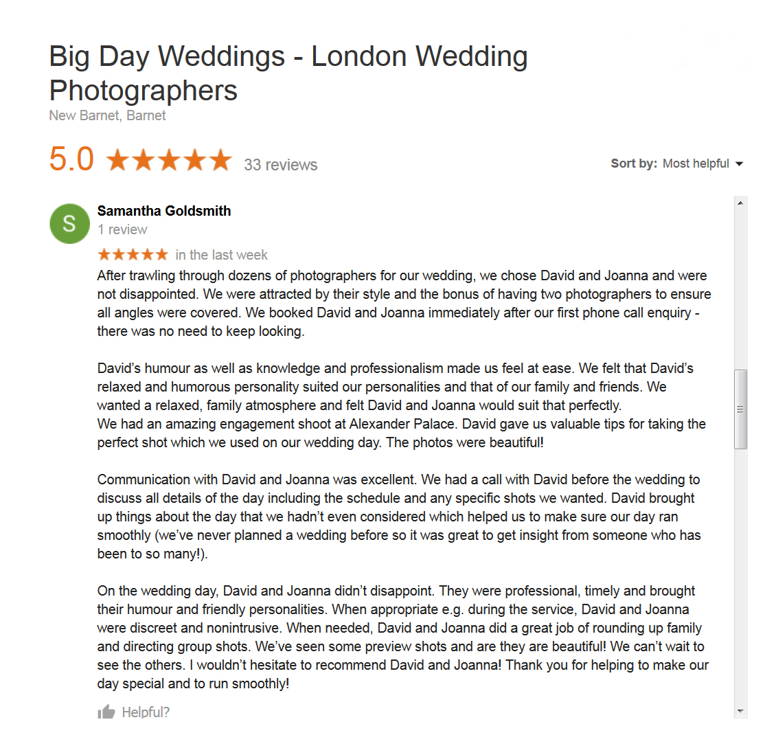 Another great Google review just in this time for St George's Cathedral and Belair House Dulwich London Wedding Photographers