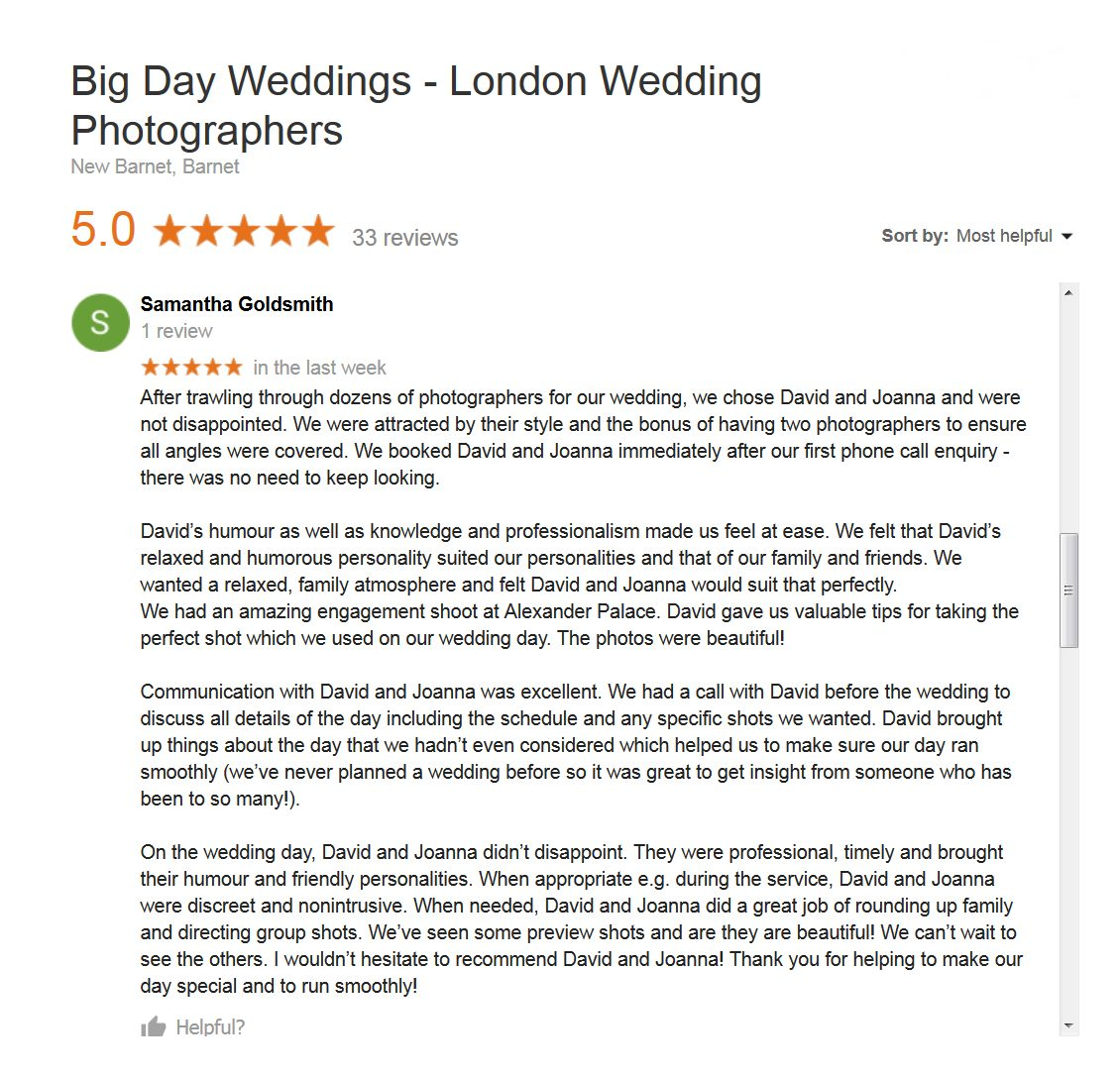 Google review for Big Day Weddings screen grab