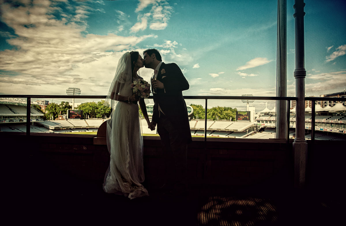 Silhouette of wedding couple kissing Lords Cricket Ground