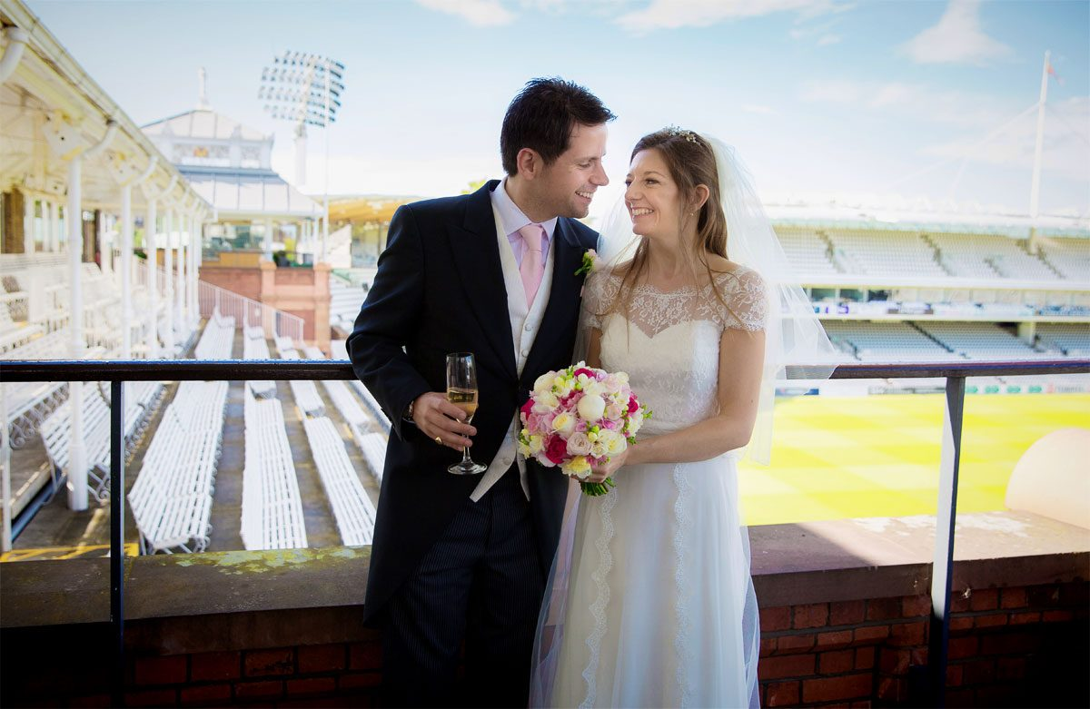 Wedding couple at Lords Cricket Ground photo