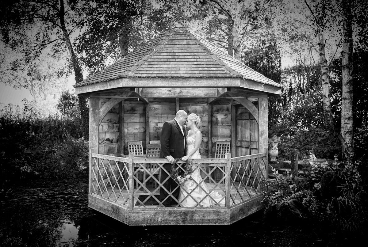 Bride and groom head to head in South Farm wedding summer house