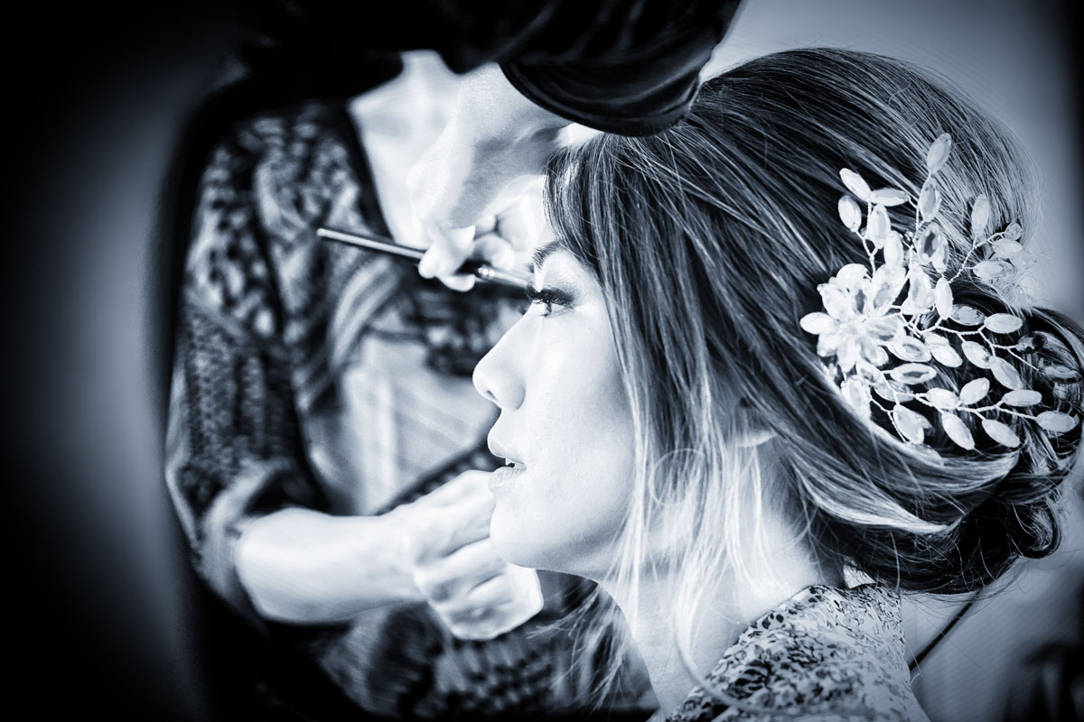 Bride make up at Stoke Place Hotel wedding image