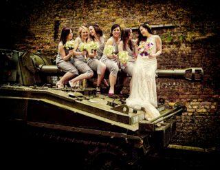 Bridesmaids sit on tank again at London Islington wedding day image