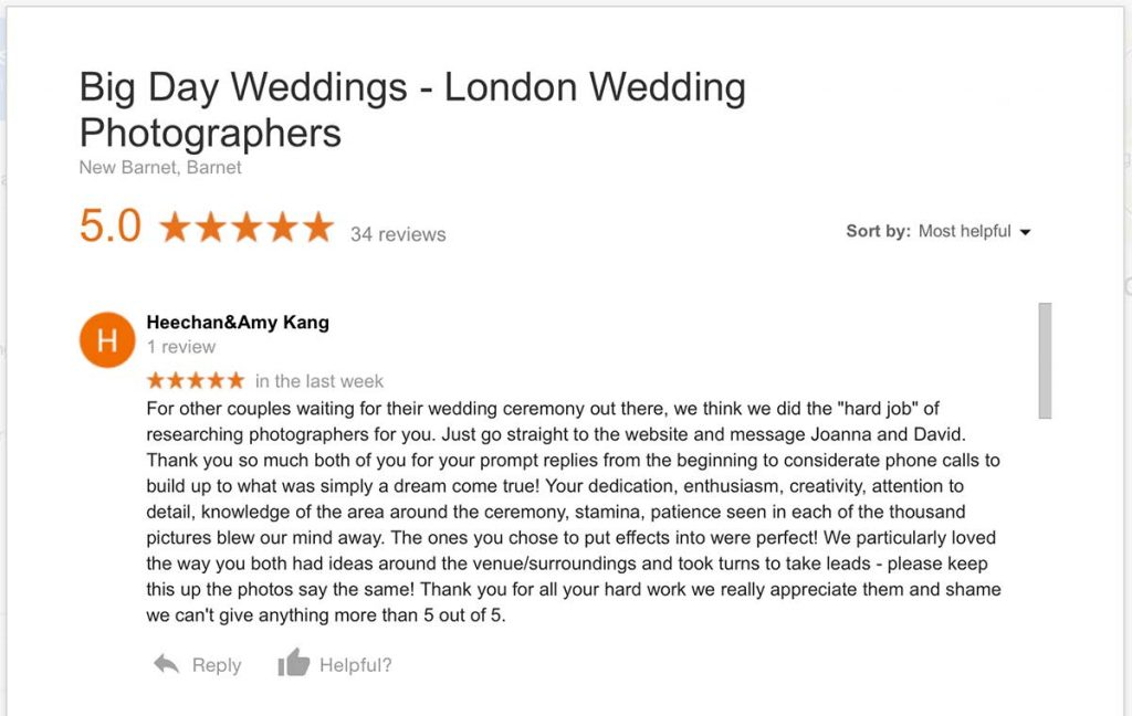 Google review for Big Day Weddings London photographers