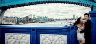 Wedding laughter on London Tower Bridge image