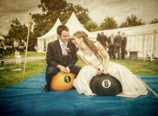 outdoor wedding fun with space hopers image 2