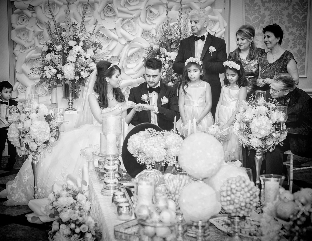 Persian wedding ceremony exchange of rings Connaught Rooms London