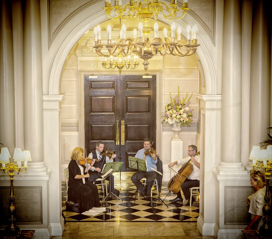 String quartet plays at Connaught Rooms wedding reception