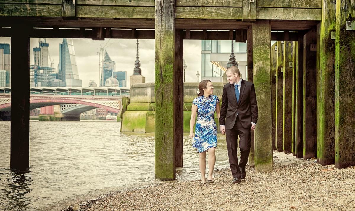 Engagement photo shoot at Southbank beach London