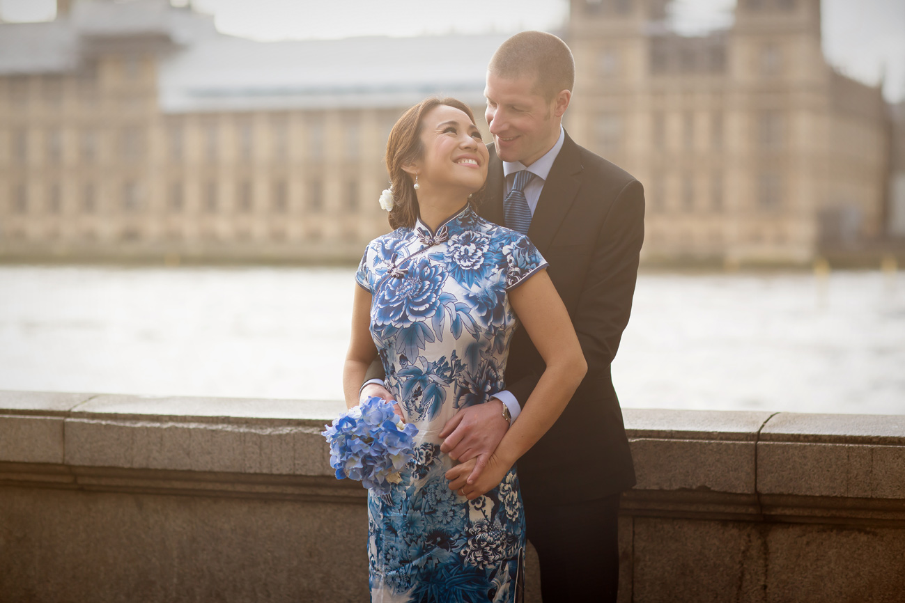 Engagement couple by London Houses of Parliament