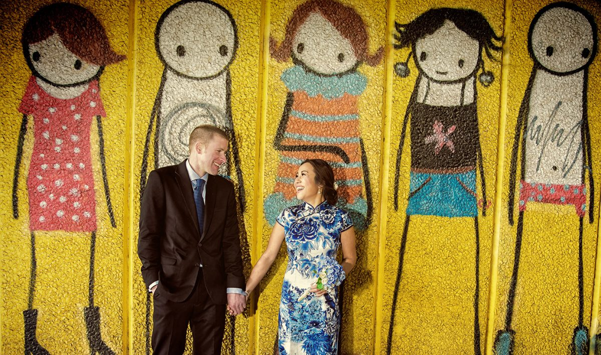 London engagement shoot couple by southbank graffiti