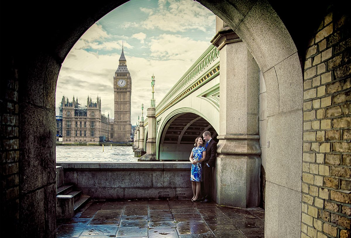 London engagement shoot by Big Ben and Westminster Bridge