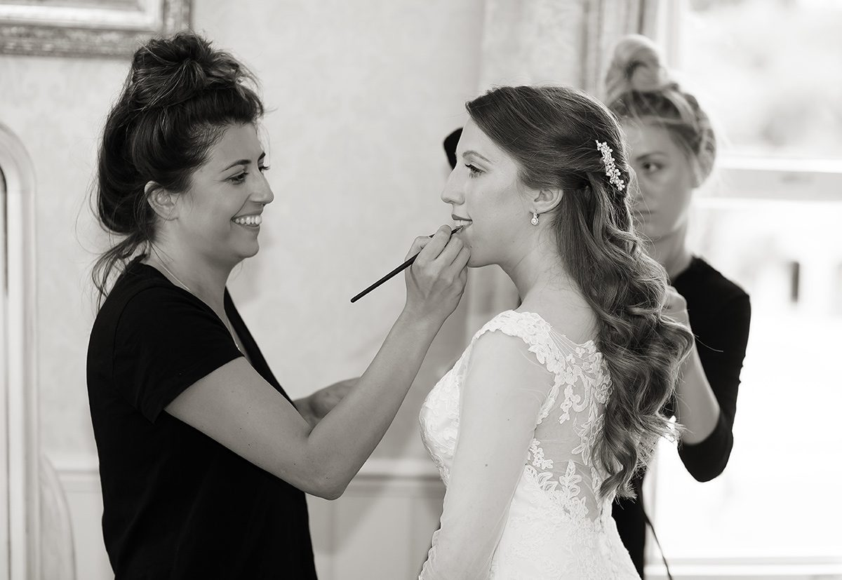 Bridal makeup Shendish Manor wedding morning