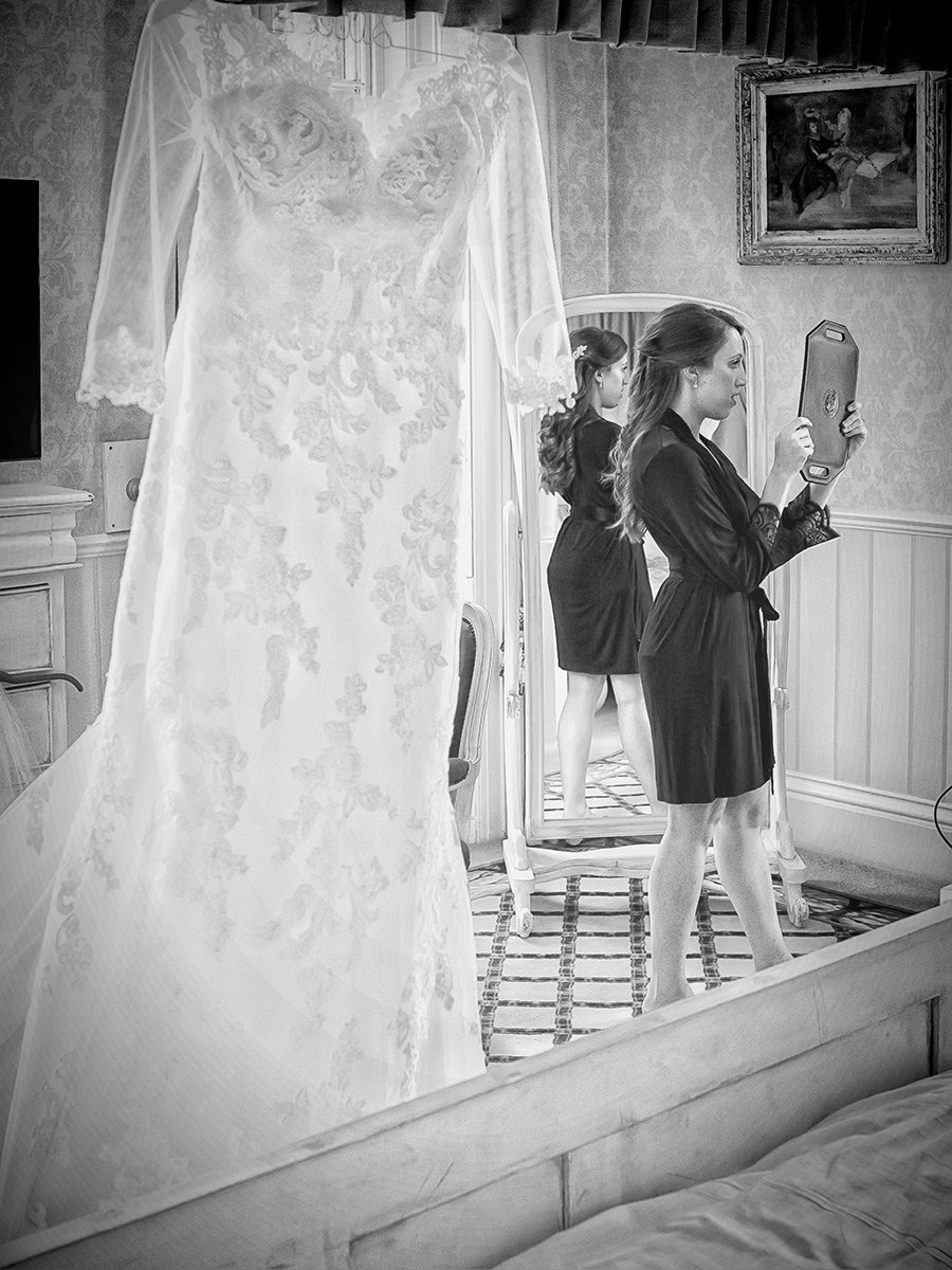 Bride dress and mirror Shendish Manor wedding
