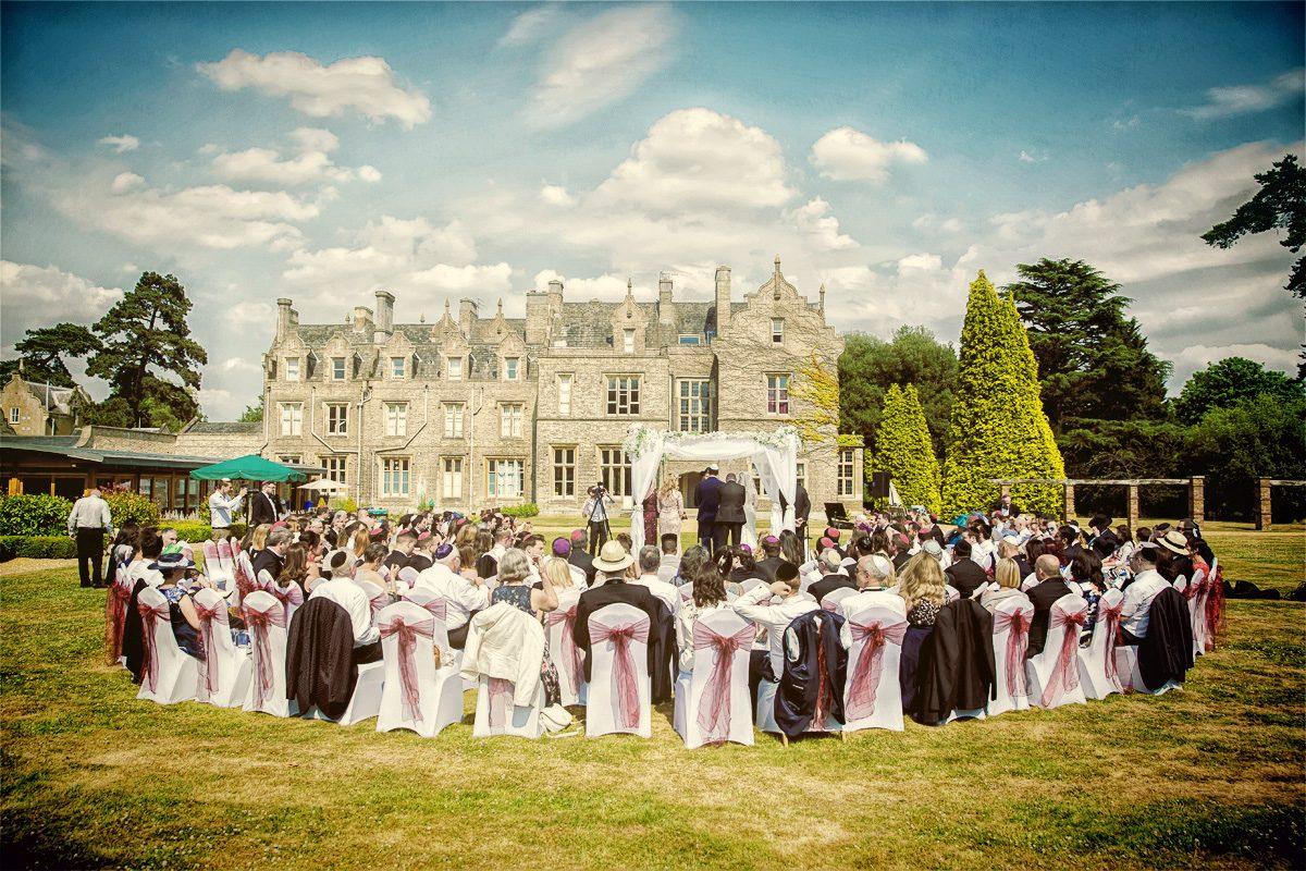 Outdoor Jewish wedding ceremony at Shendish Manor