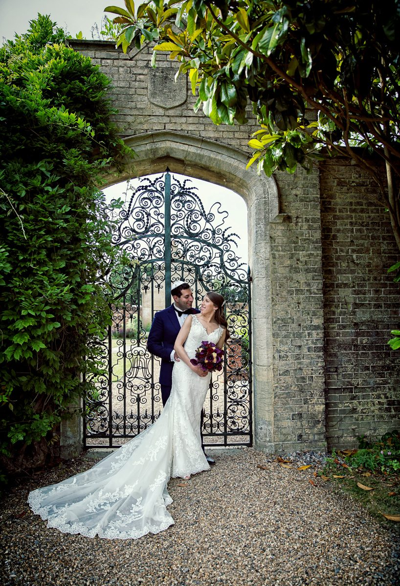 Wedding couple in grounds of Shendish Manor