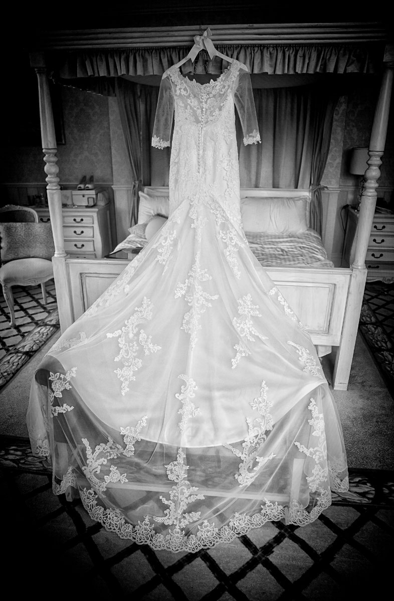 Wedding dress hanging at Shendish Manor