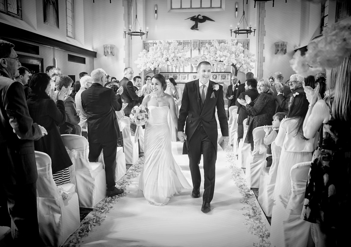Wedding recessional at Hanbury Manor photo