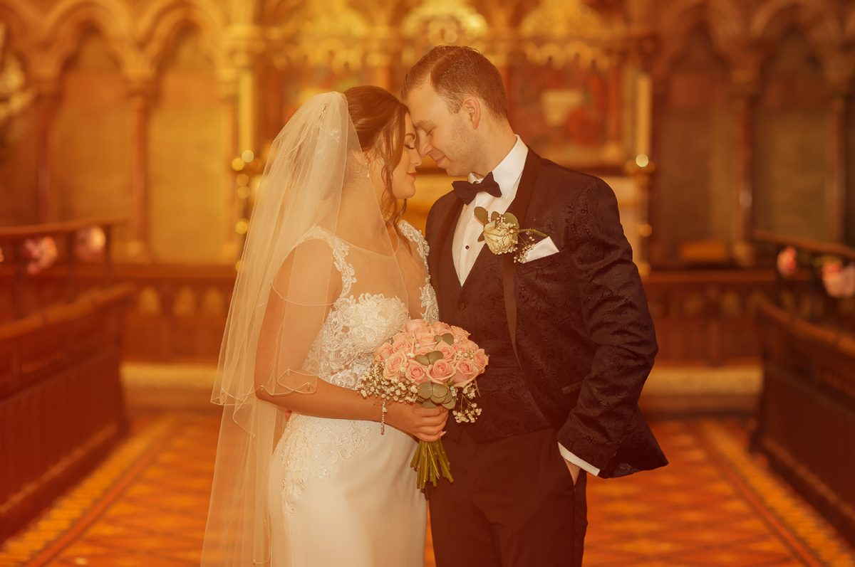 Bride and groom portrait at Christ Church Southgate wedding