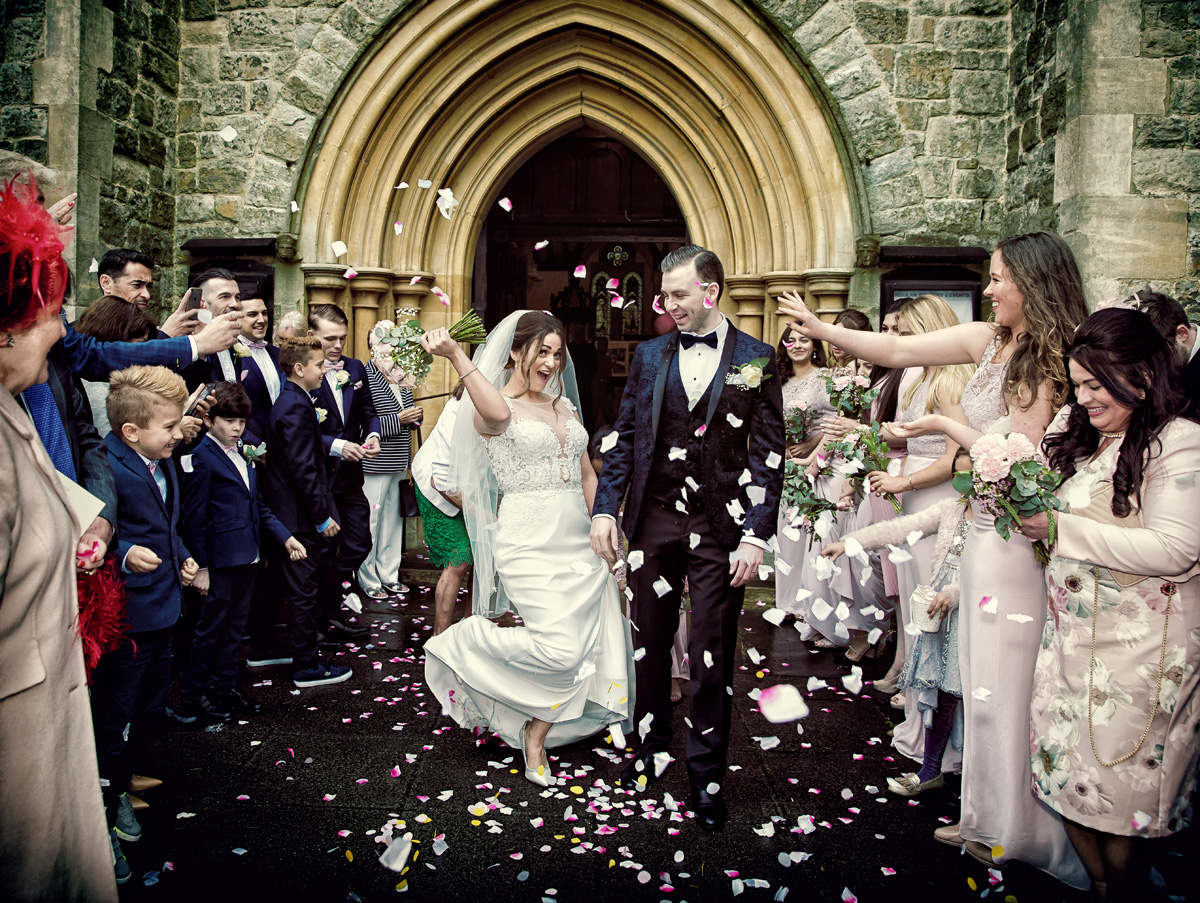 Confetti throw at Christ Church Southgate wedding