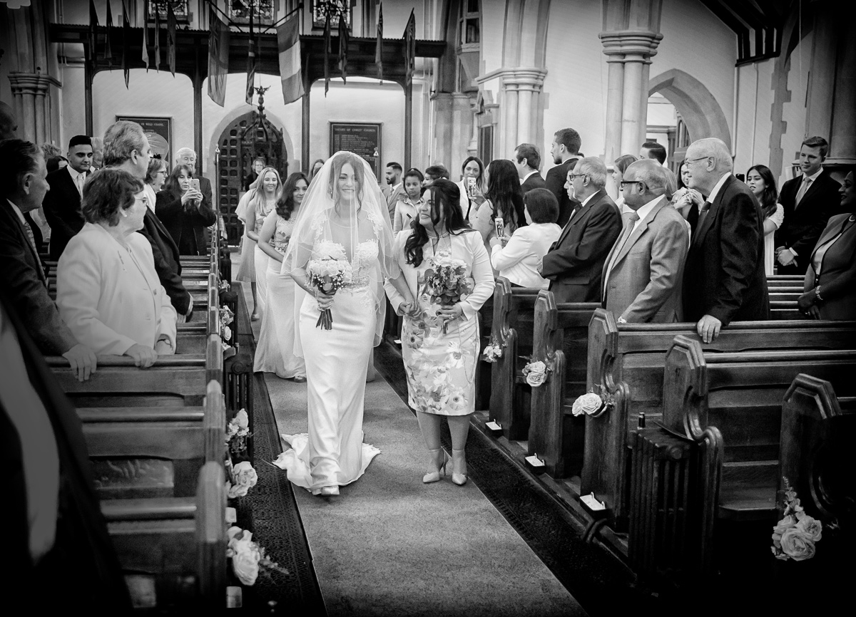 Wedding processional at Christ Church Southgate London