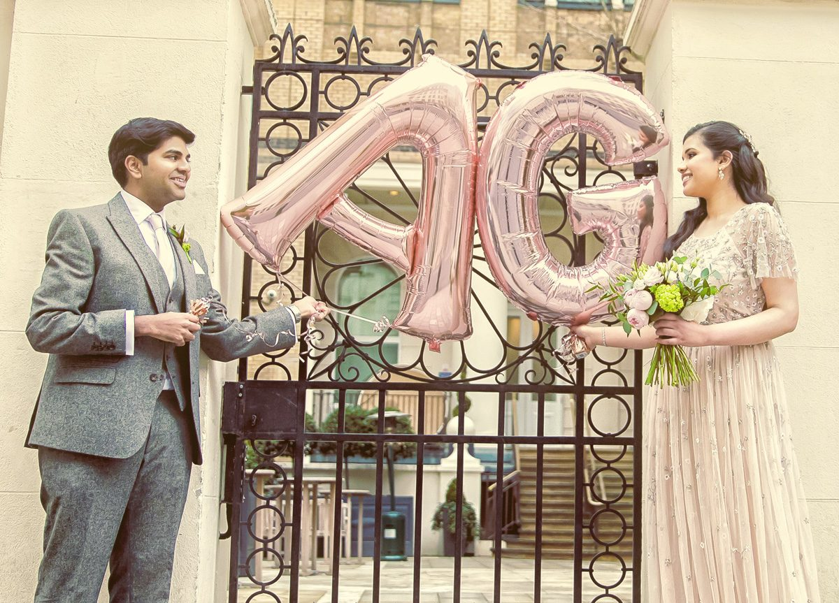 Asia House wedding couple with balloons image