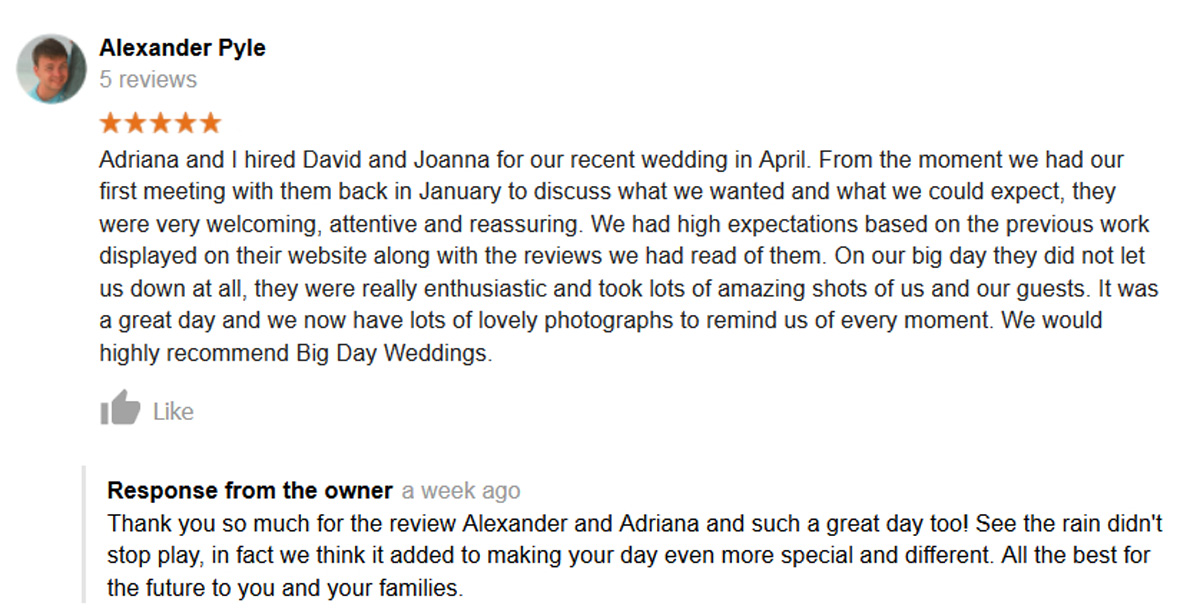 Big Day Weddings google review number 36