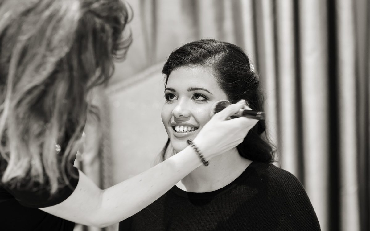 Langham Hotel wedding prep bridal photo