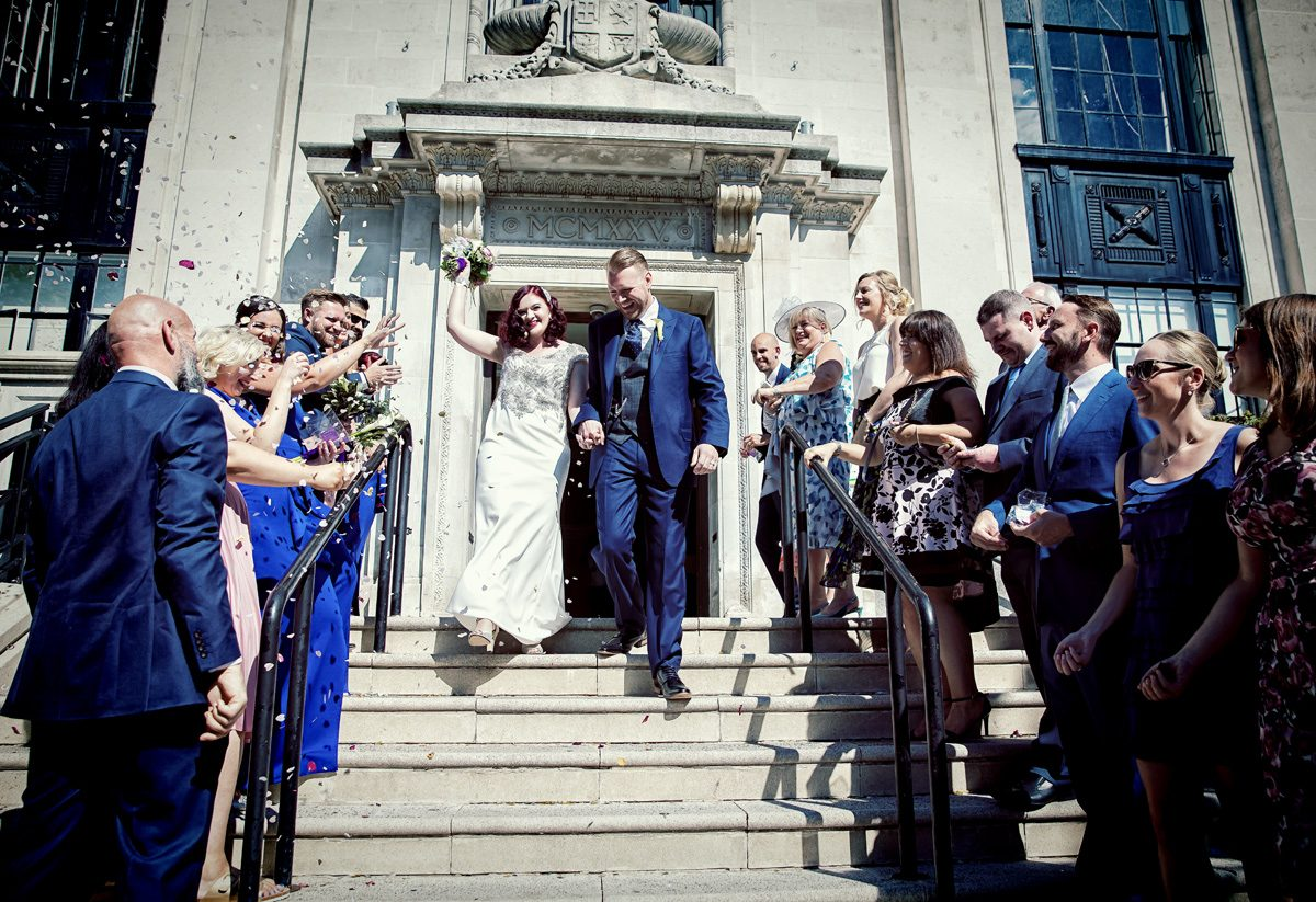 Confetti throw at Islington Town Hall wedding