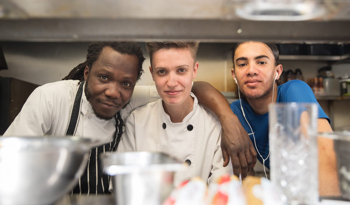 Wedding chefs in kitchen at Dead Dolls House London