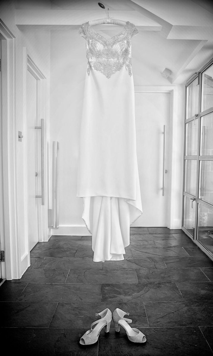 Wedding dress hanging before Islington wedding day