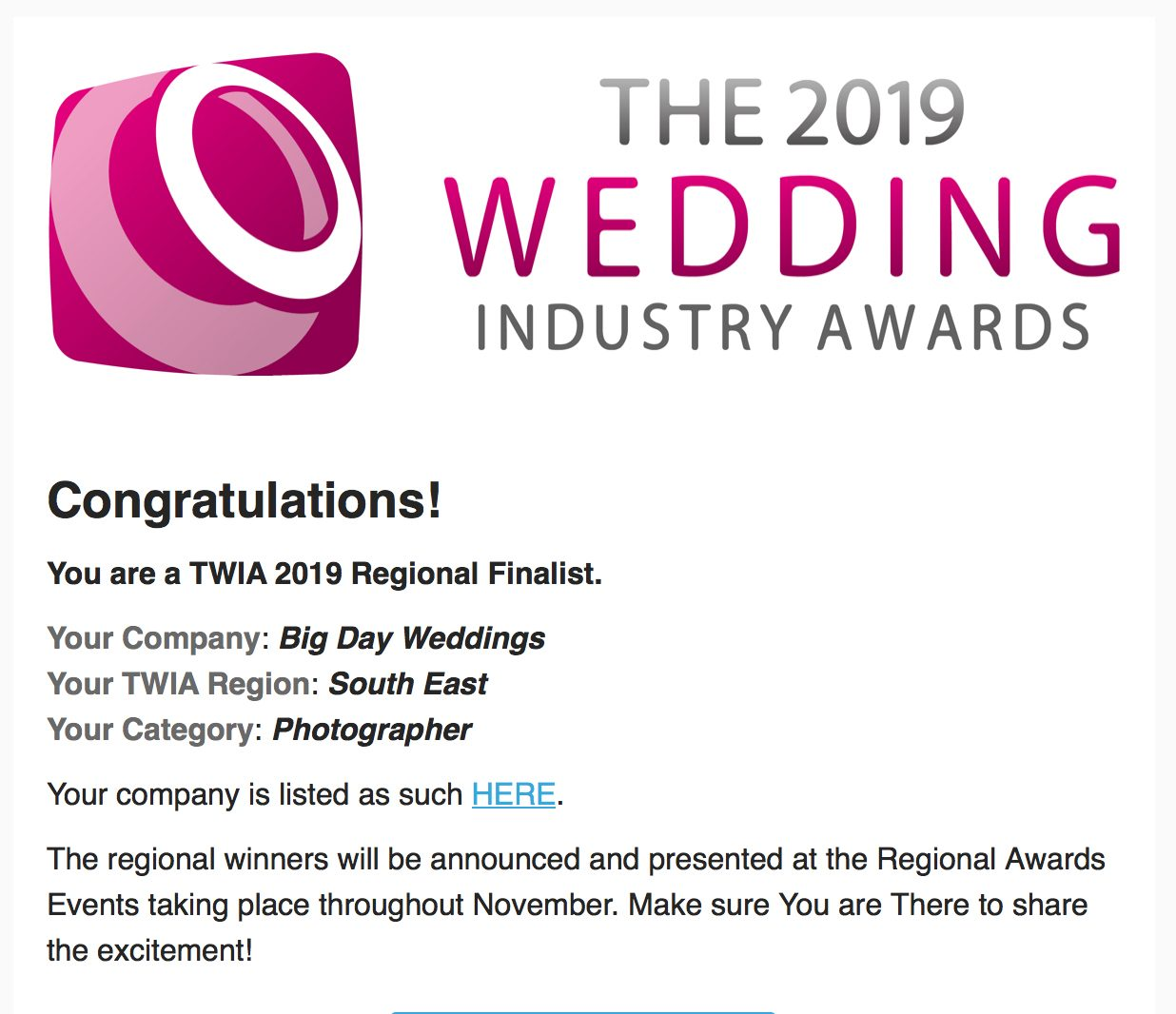 Big Day awards email 1