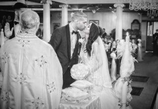 First kiss Greek wedding ceremony London image