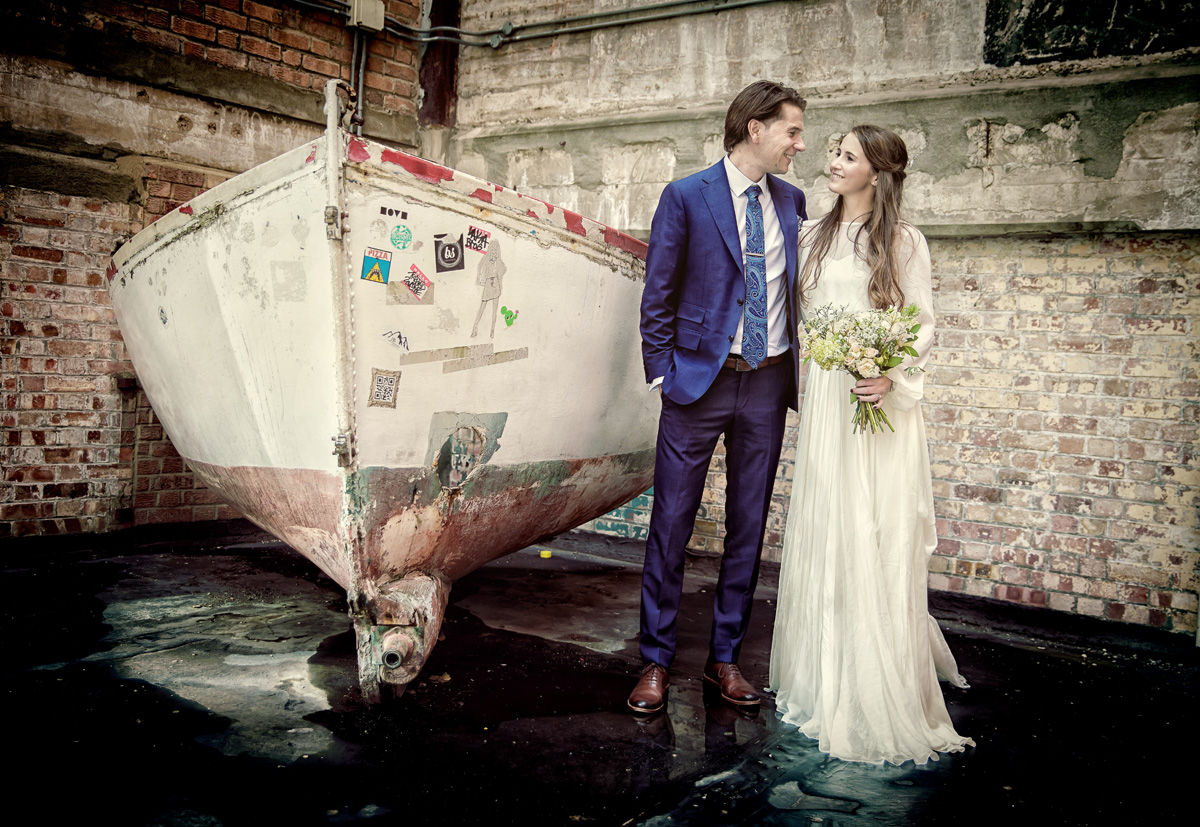 London wedding couple by boat art in Southbank