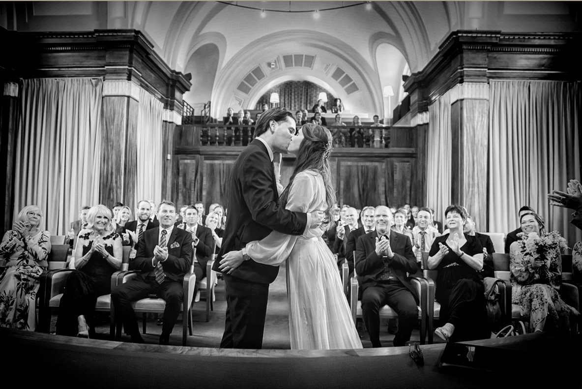 Stoke Newington town hall wedding ceremony kiss