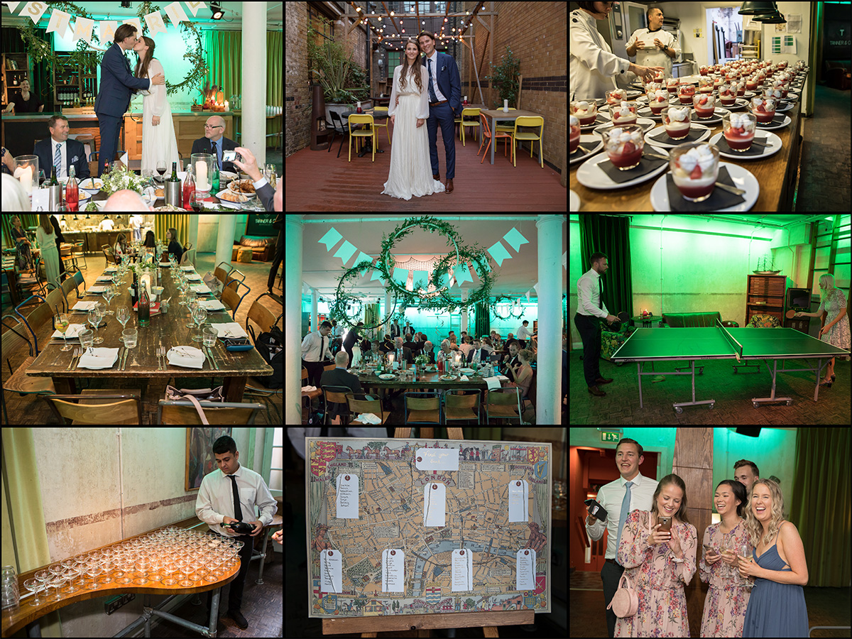 Tanner warehouse wedding collage 1