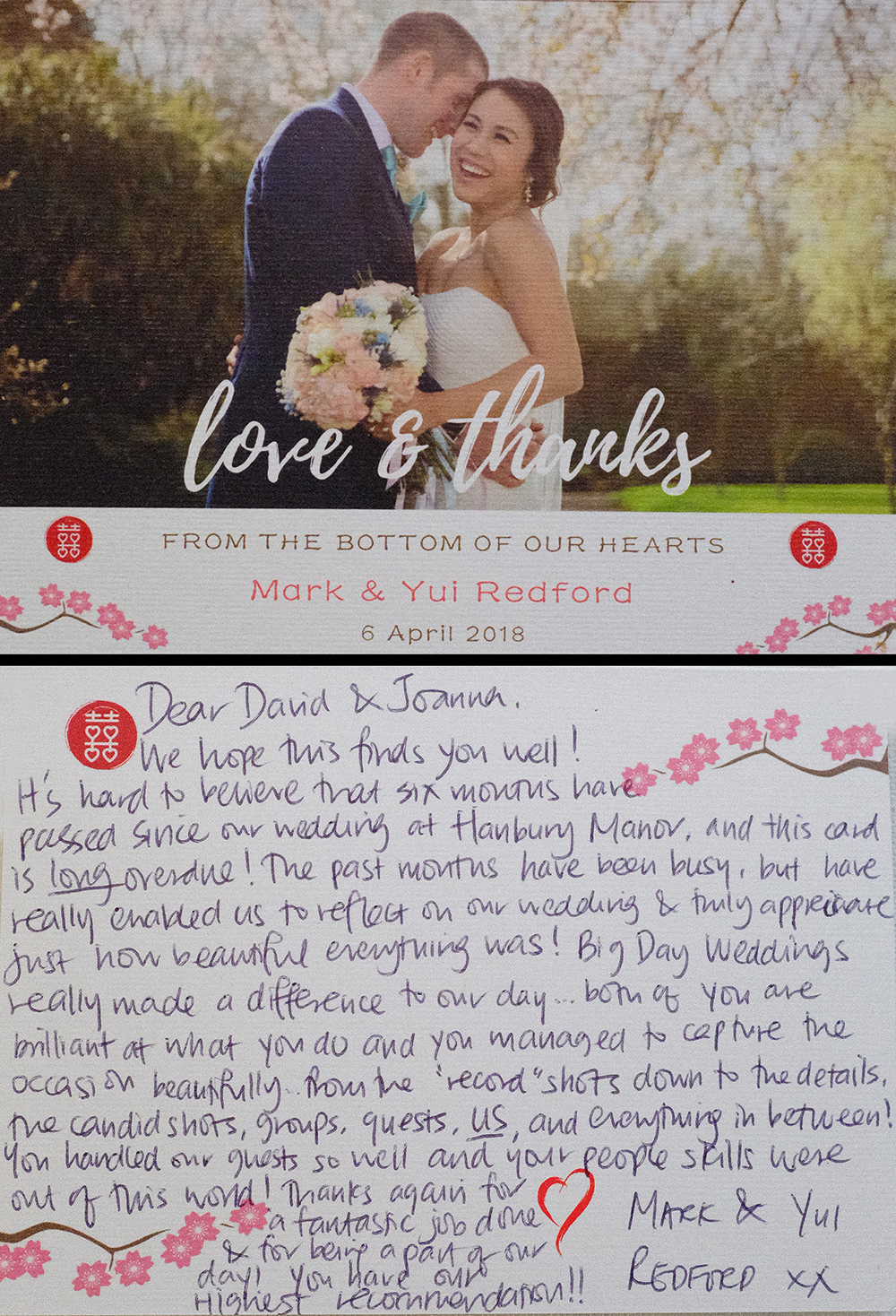 Another lovely 'Thank you' card through the post. Well, thank you! London Wedding Photographers