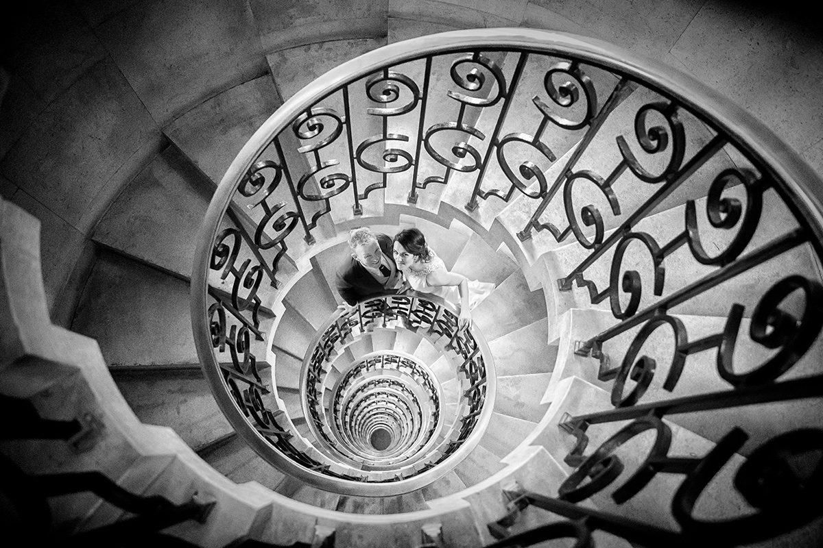 The Ned Hotel wedding photographers staircase image