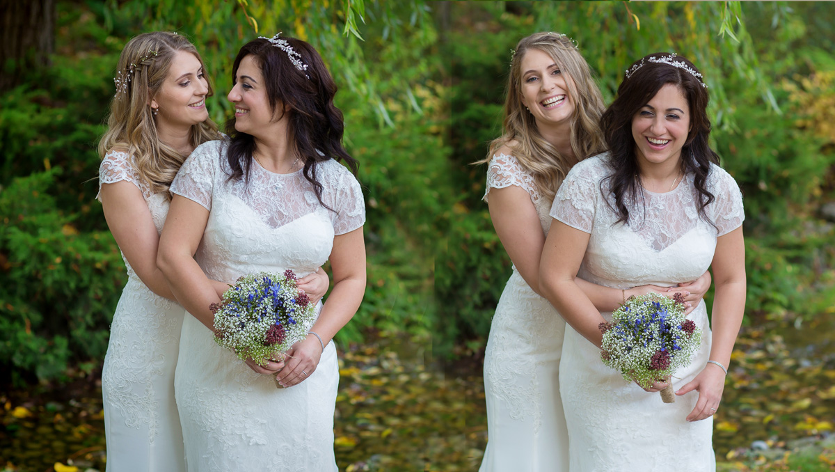 Two fantastic brides marry at Essendon Country Park. Gay wedding photographers London since 2006 London Wedding Photographers