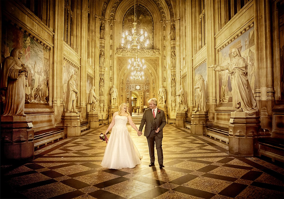 Houses of Parliament wedding couple walking together