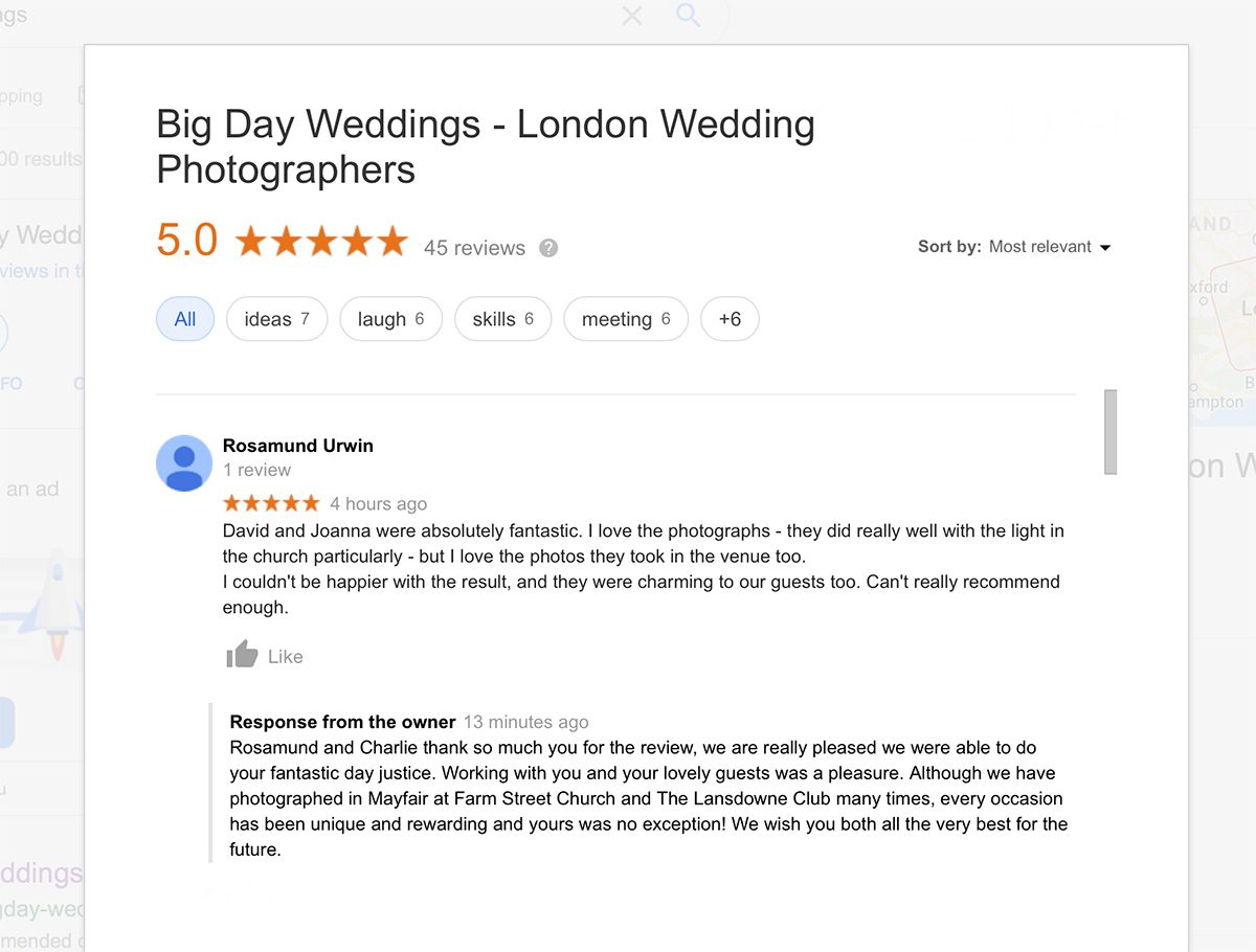 Big Day Weddings Google review for Lansdowne Club Wedding