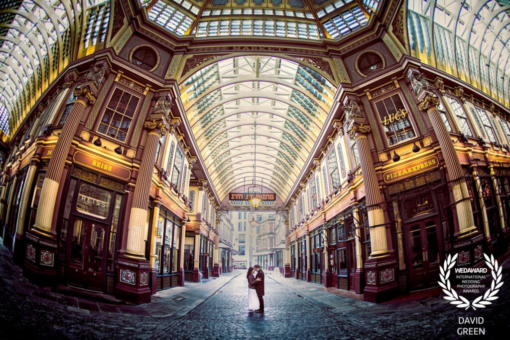Couple in Leadenhall Market London engagement shoot image