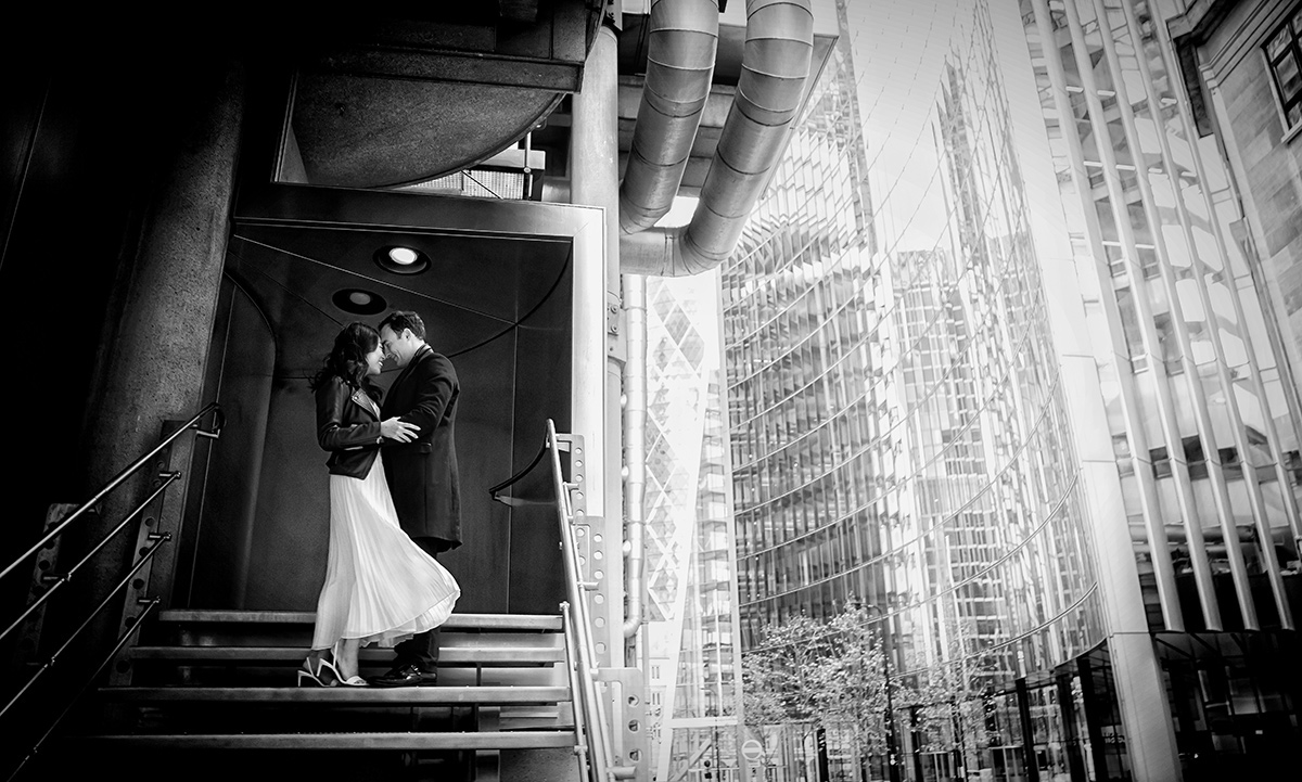 London engagement couple at Lloyds Building London
