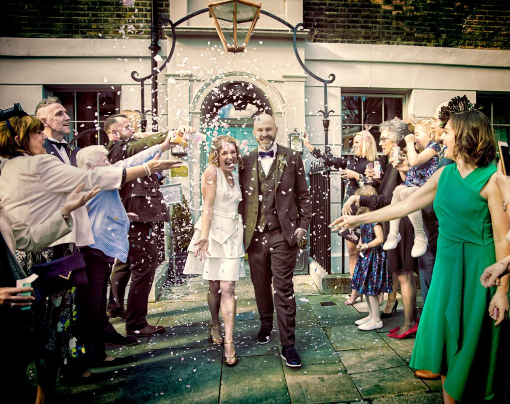 Confetti throw at Zetter Town House wedding in London